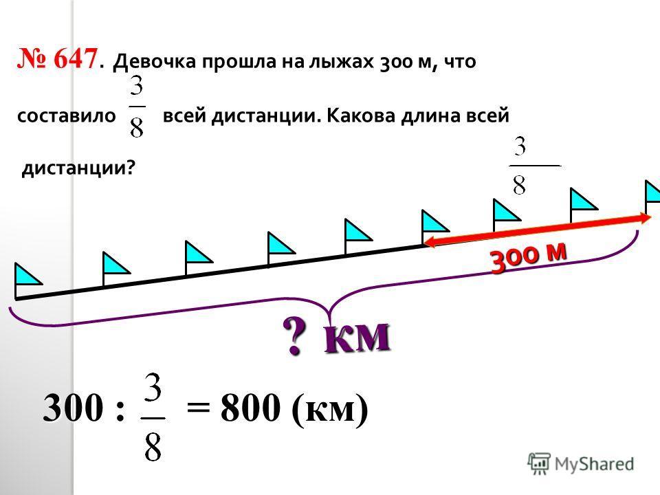 ? км 647. Девочка прошла на лыжах 300 м, что составило всей дистанции. Какова длина всей дистанции ? 300 м 300 : = 800 (км)