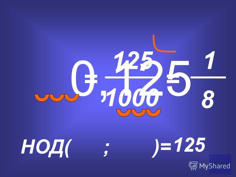 0,125 = 125 1000 НОД( ; )= 125 = 1 8 1000