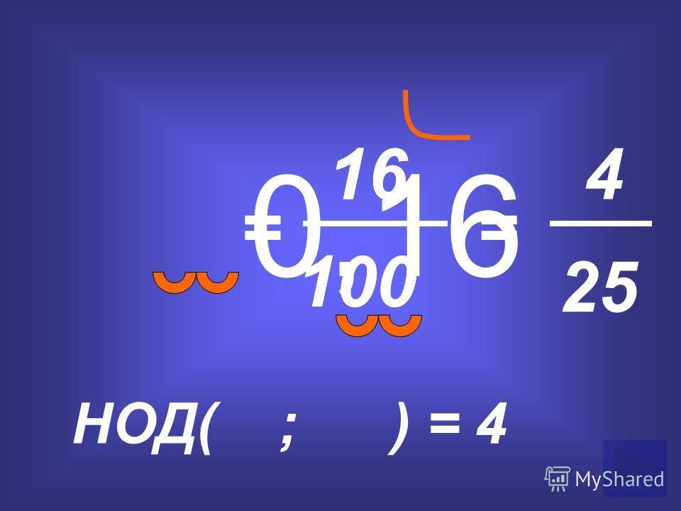 0,16 = 16 100 НОД( ; ) =4 = 4 25 4 16 100