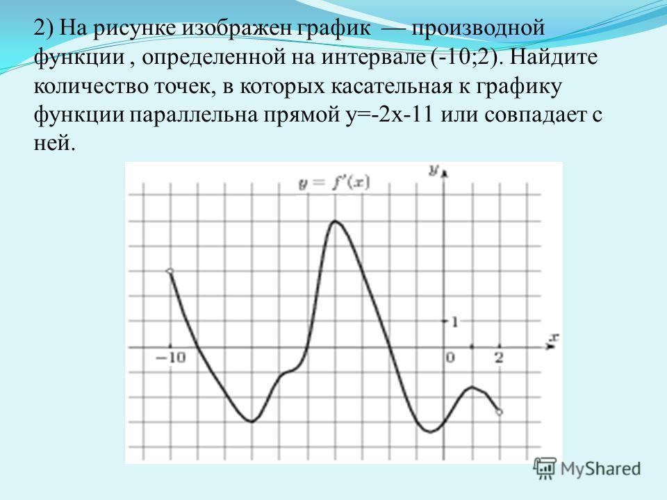 2) На рисунке изображен график производной функции, определенной на интервале (-10;2). Найдите количество точек, в которых касательная к графику функции параллельна прямой у=-2х-11 или совпадает с ней.