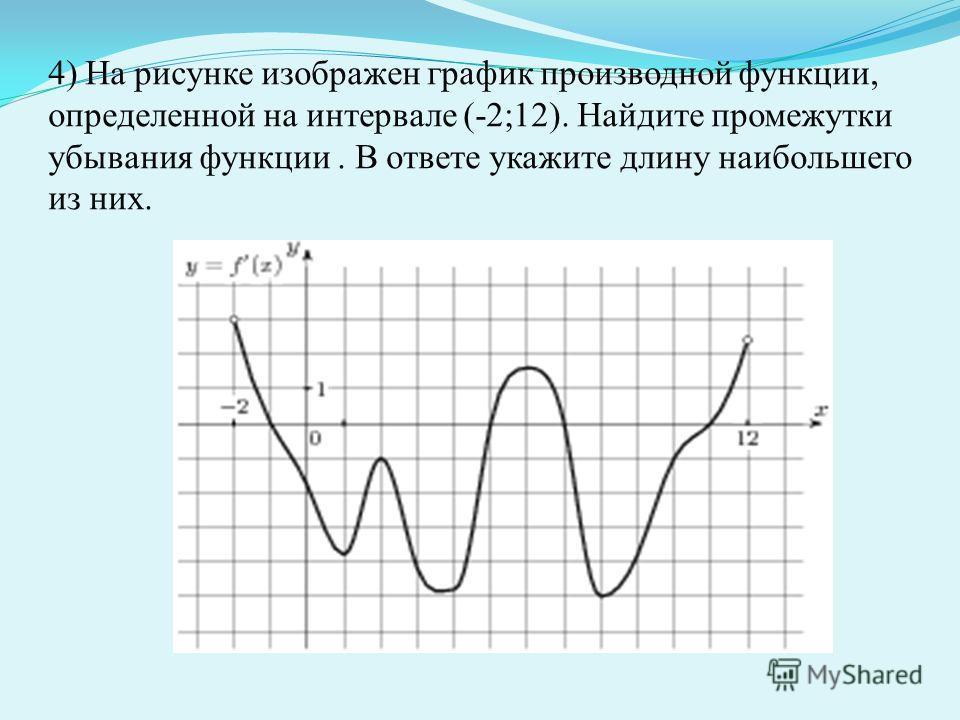 4) На рисунке изображен график производной функции, определенной на интервале (-2;12). Найдите промежутки убывания функции. В ответе укажите длину наибольшего из них.