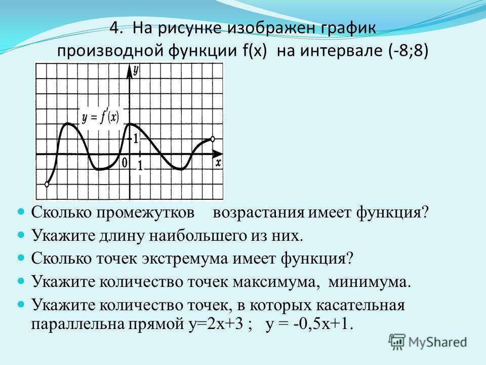 4. На рисунке изображен график производной функции f(x) на интервале (-8;8) Сколько промежутков возрастания имеет функция? Укажите длину наибольшего из них. Сколько точек экстремума имеет функция? Укажите количество точек максимума, минимума. Укажите