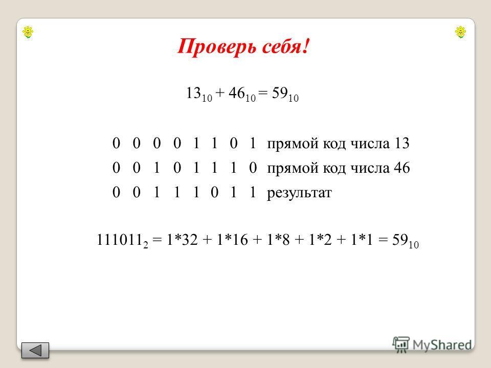 13 10 + 46 10 = 59 10 00001101прямой код числа 13 00101110прямой код числа 46 00111011результат 111011 2 = 1*32 + 1*16 + 1*8 + 1*2 + 1*1 = 59 10 Проверь себя!