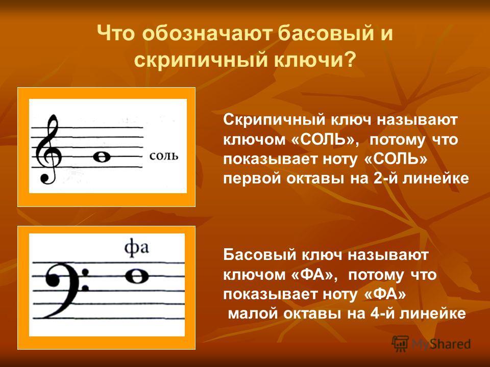 Басовый ключ называют ключом «ФА», потому что показывает ноту «ФА» малой октавы на 4-й линейке Скрипичный ключ называют ключом «СОЛЬ», потому что показывает ноту «СОЛЬ» первой октавы на 2-й линейке