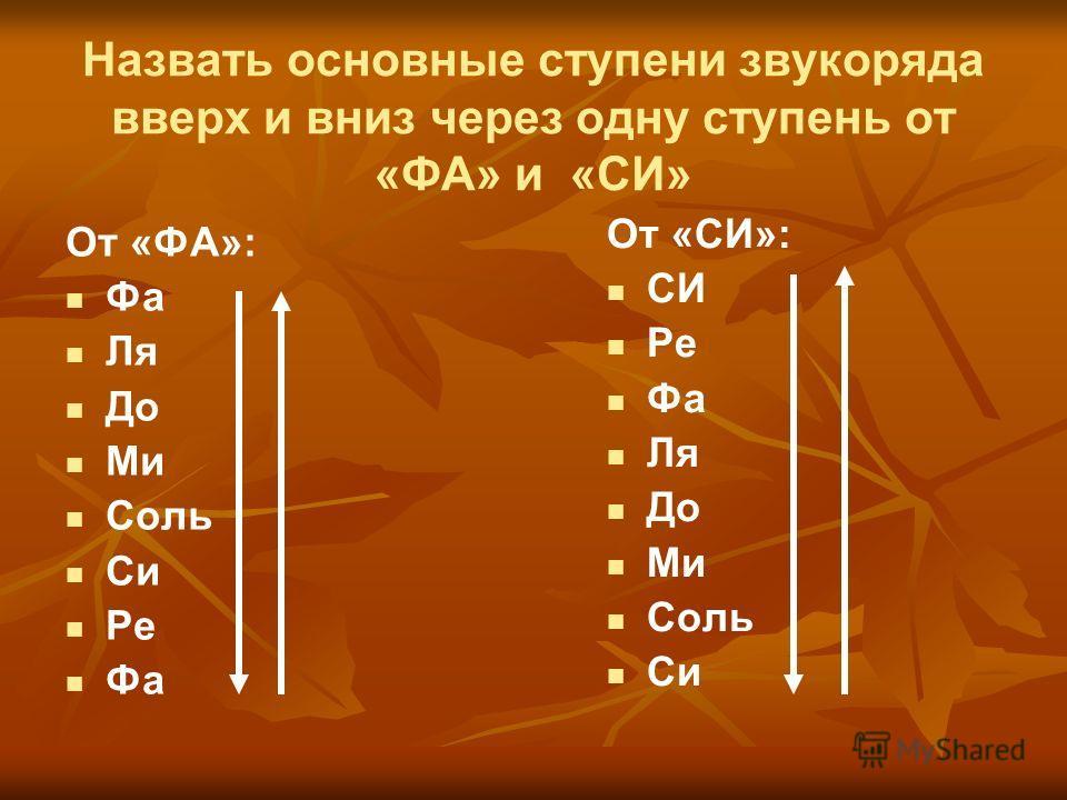 Назвать основные ступени звукоряда вверх и вниз через одну ступень от «ФА» и «СИ» От «ФА»: Фа Ля До Ми Соль Си Ре Фа От «СИ»: СИ Ре Фа Ля До Ми Соль Си