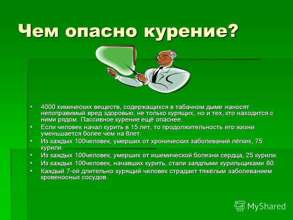 Чем опасно курение? 4000 химических веществ, содержащихся в табачном дыме наносят непоправимый вред здоровью, не только курящих, но и тех, кто находится с ними рядом. Пассивное курение ещё опаснее. 4000 химических веществ, содержащихся в табачном дым