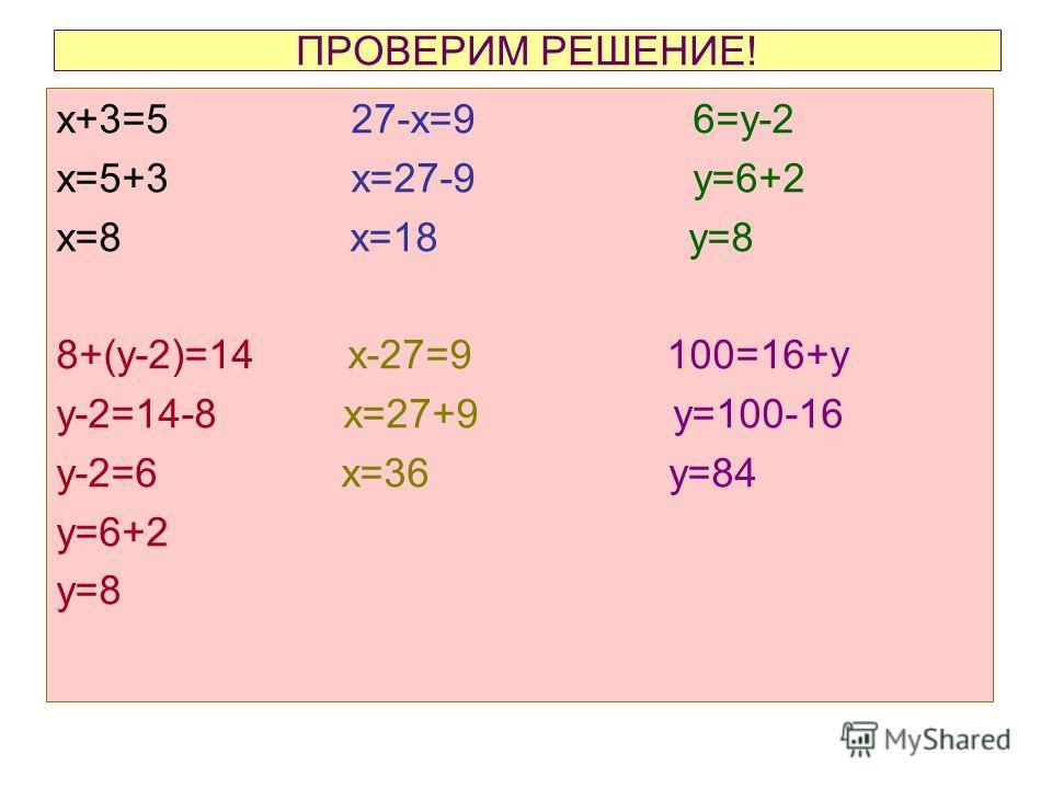 ПРОВЕРИМ РЕШЕНИЕ! х+3=5 27-х=9 6=у-2 х=5+3 х=27-9 у=6+2 х=8 х=18 у=8 8+(у-2)=14 х-27=9 100=16+у у-2=14-8 х=27+9 у=100-16 у-2=6 х=36 у=84 у=6+2 у=8