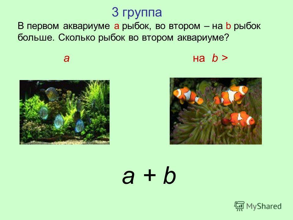 3 группа В первом аквариуме а рыбок, во втором – на b рыбок больше. Сколько рыбок во втором аквариуме? a на b > a + b