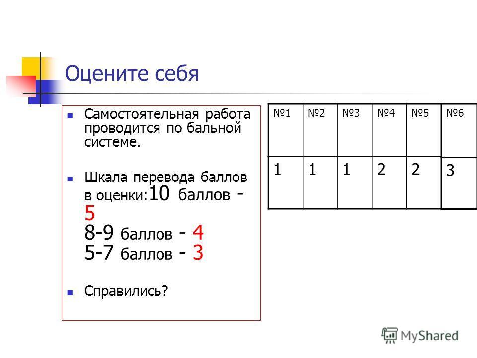 Оцените себя Самостоятельная работа проводится по бальной системе. Шкала перевода баллов в оценки: 10 баллов - 5 8-9 баллов - 4 5-7 баллов - 3 Справились? 12345 11122 6 3