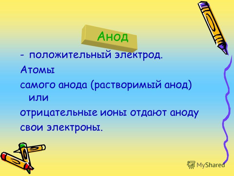 Анод -положительный электрод. Атомы самого анода (растворимый анод) или отрицательные ионы отдают аноду свои электроны.