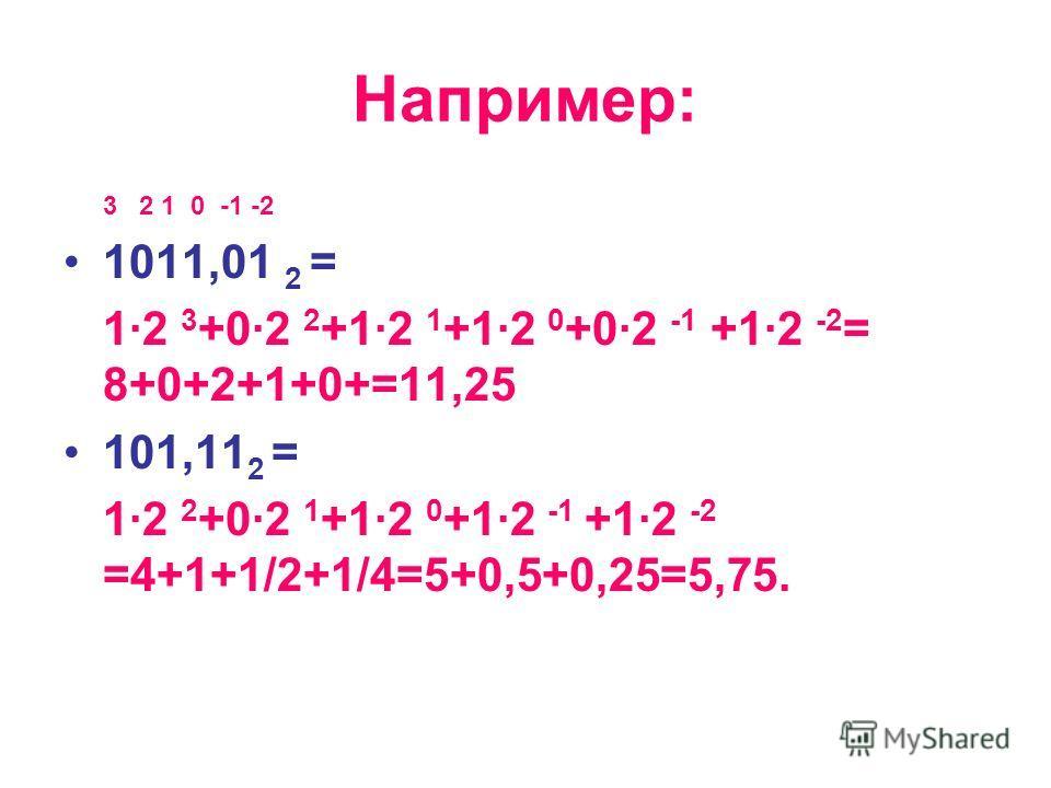 Например: 3 2 1 0 -1 -2 1011,01 2 = 1·2 3 +0·2 2 +1·2 1 +1·2 0 +0·2 -1 +1·2 -2 = 8+0+2+1+0+=11,25 101,11 2 = 1·2 2 +0·2 1 +1·2 0 +1·2 -1 +1·2 -2 =4+1+1/2+1/4=5+0,5+0,25=5,75.
