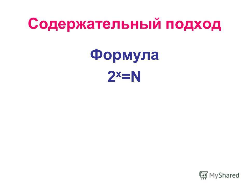 Содержательный подход Формула 2 x =N