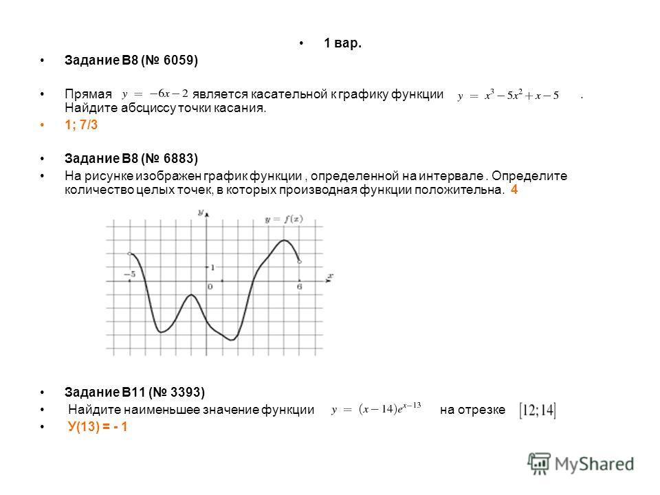 1 вар. Задание B8 ( 6059) Прямая является касательной к графику функции. Найдите абсциссу точки касания. 1; 7/3 Задание B8 ( 6883) На рисунке изображен график функции, определенной на интервале. Определите количество целых точек, в которых производна