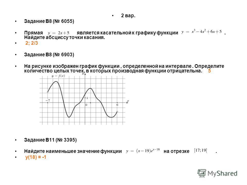 2 вар. Задание B8 ( 6055) Прямая является касательной к графику функции. Найдите абсциссу точки касания. 2; 2/3 Задание B8 ( 6903) На рисунке изображен график функции, определенной на интервале. Определите количество целых точек, в которых производна