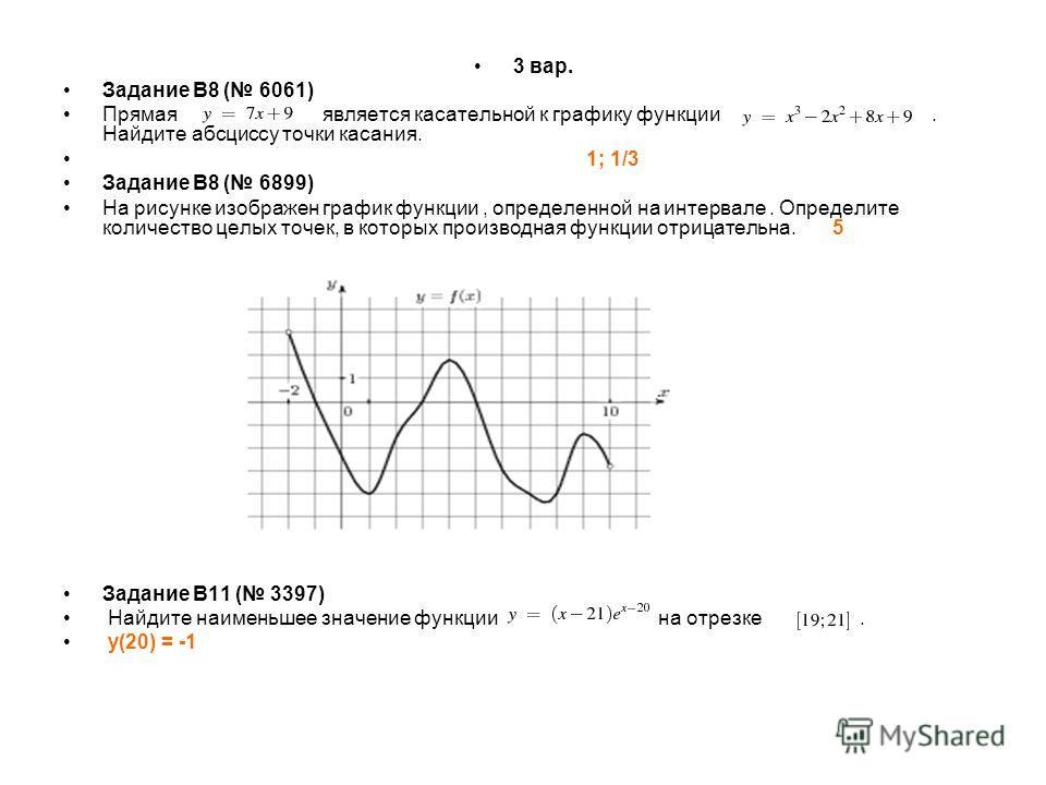 3 вар. Задание B8 ( 6061) Прямая является касательной к графику функции. Найдите абсциссу точки касания. 1; 1/3 Задание B8 ( 6899) На рисунке изображен график функции, определенной на интервале. Определите количество целых точек, в которых производна