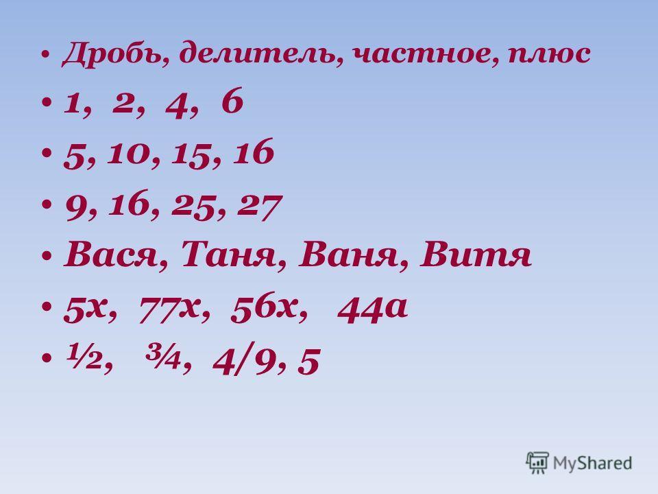 Дробь, делитель, частное, плюс 1, 2, 4, 6 5, 10, 15, 16 9, 16, 25, 27 Вася, Таня, Ваня, Витя 5х, 77х, 56х, 44а ½, ¾, 4/9, 5
