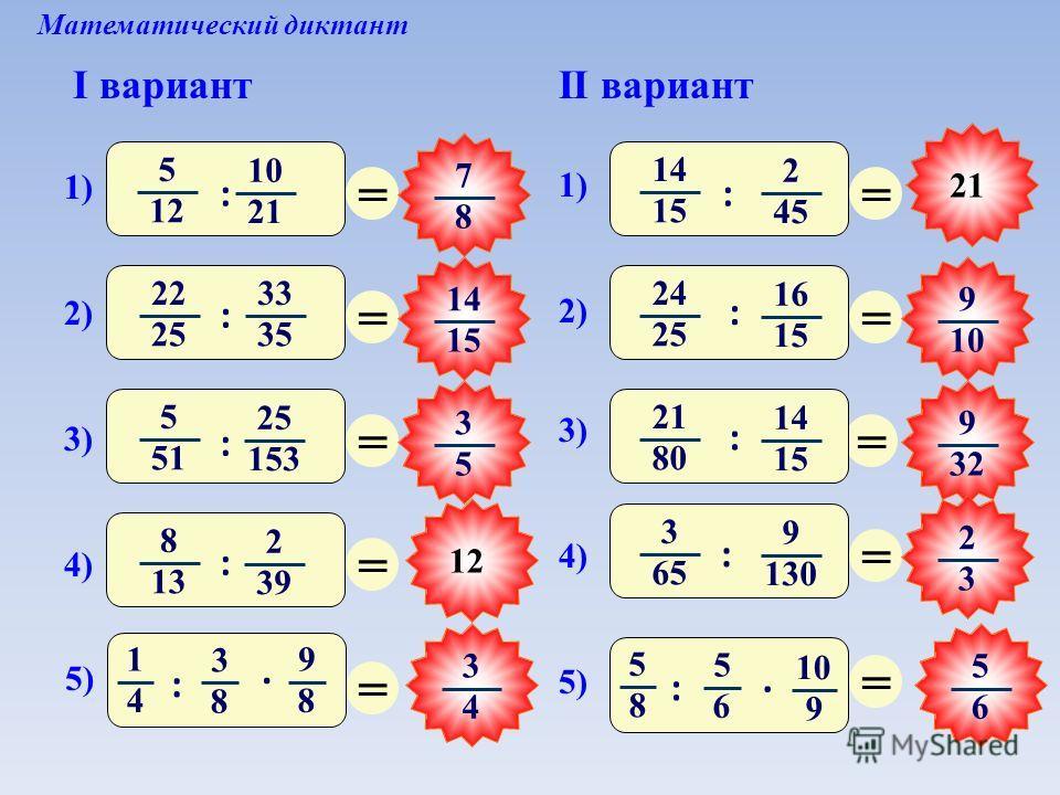 12 Математический диктант I вариантII вариант = 7 8 = 14 15 = 3 5 = 3 4 = = 5 6 = 9 10 = 9 32 = 2 3 = 5 12 10 21 1) : 2) 22 25 33 35 : 14 15 2 45 1) : 3) 5 51 25 153 : 4) 8 13 2 39 : 5) 1 4 3 8 9 8 :. 3) 21 80 14 15 : 2) 24 25 16 15 : 5) 5 8 5 6 10 9