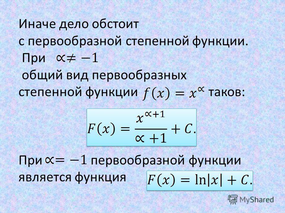 Иначе дело обстоит с первообразной степенной функции. При общий вид первообразных степенной функции таков: При первообразной функции является функция