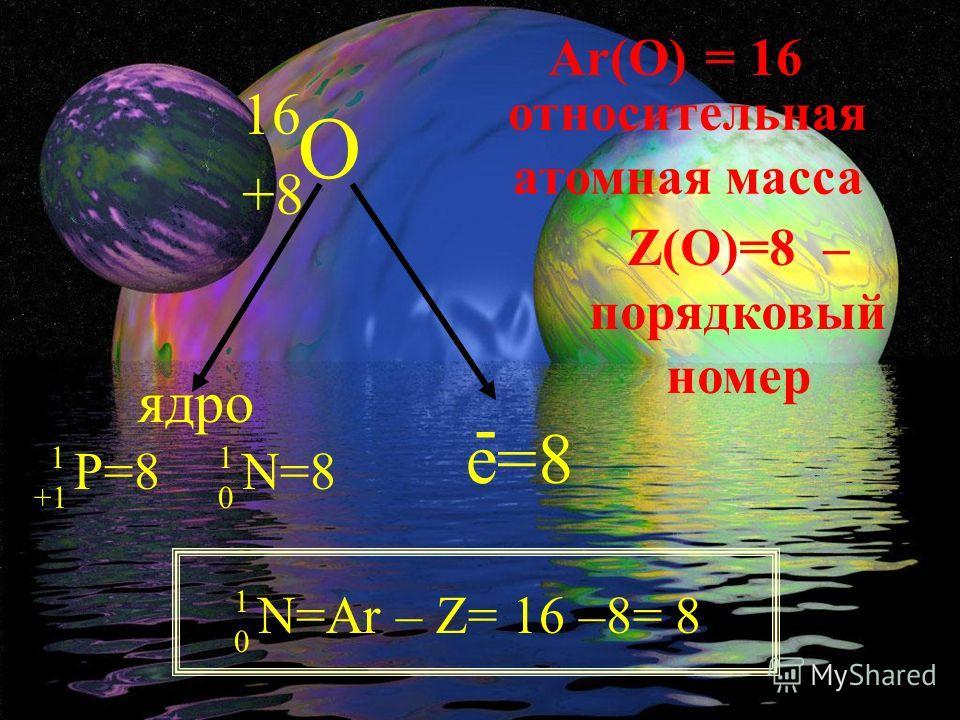O 16 +8 ядро 1 +1 Р=8 1 0 N=8 e=8 - Ar(О) = 16 относительная атомная масса Z(O)=8 – порядковый номер 1 0 N=Ar – Z= 16 –8= 8