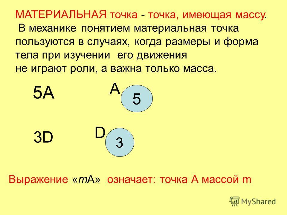 МАТЕРИАЛЬНАЯ точка - точка, имеющая массу. В механике понятием материальная точка пользуются в случаях, когда размеры и форма тела при изучении его движения не играют роли, а важна только масса. 5A5A 3D 5 А 3 D Выражение «mА» означает: точка А массой