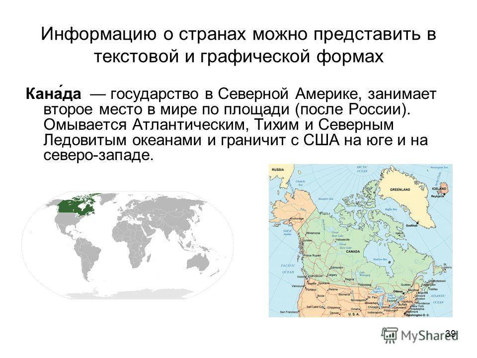 39 Информацию о странах можно представить в текстовой и графической формах Кана́да государство в Северной Америке, занимает второе место в мире по площади (после России). Омывается Атлантическим, Тихим и Северным Ледовитым океанами и граничит с США н