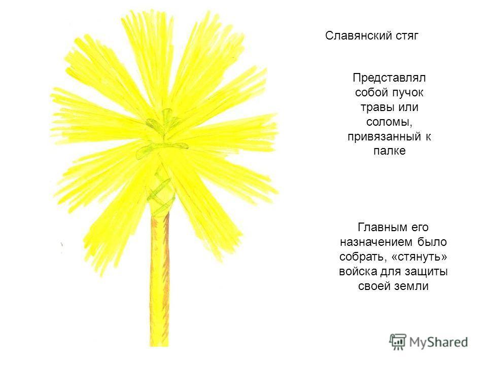 Славянский стяг Представлял собой пучок травы или соломы, привязанный к палке Главным его назначением было собрать, «стянуть» войска для защиты своей земли