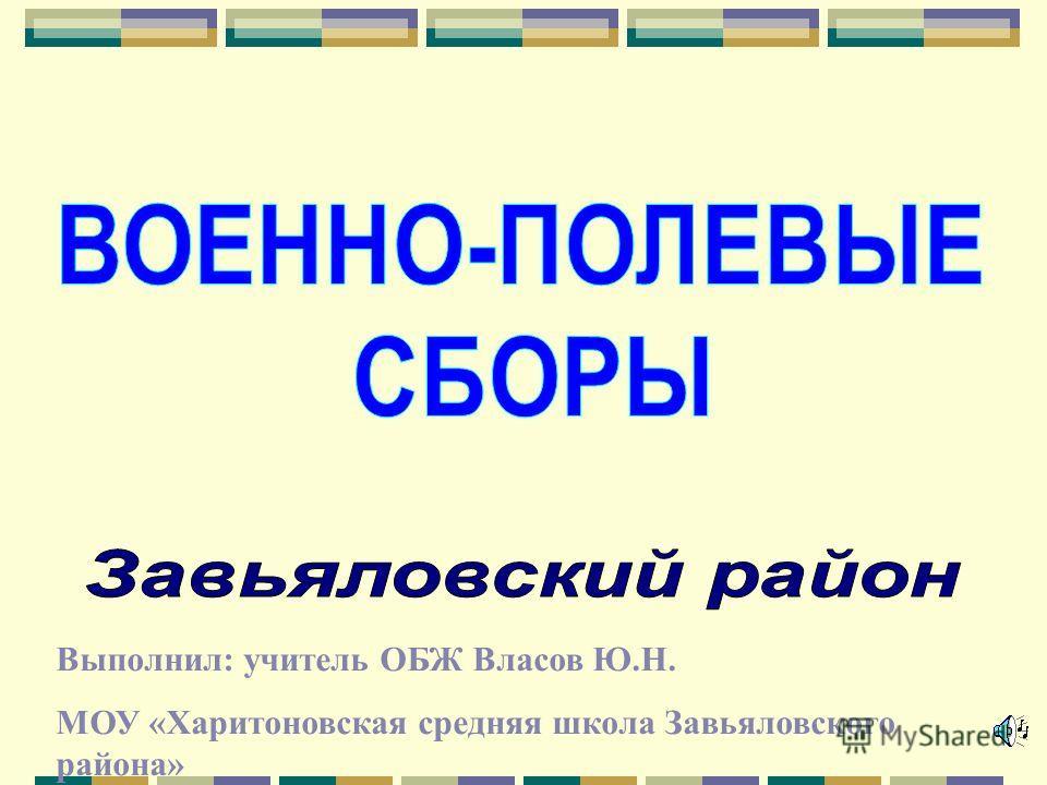 Выполнил: учитель ОБЖ Власов Ю.Н. МОУ «Харитоновская средняя школа Завьяловского района»