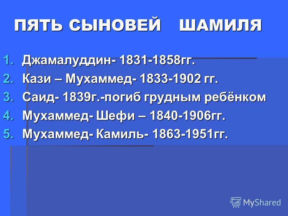 ПЯТЬ СЫНОВЕЙ ШАМИЛЯ ПЯТЬ СЫНОВЕЙ ШАМИЛЯ 1.Джамалуддин- 1831-1858гг. 2.Кази – Мухаммед- 1833-1902 гг. 3.Саид- 1839г.-погиб грудным ребёнком 4.Мухаммед- Шефи – 1840-1906гг. 5.Мухаммед- Камиль- 1863-1951гг.