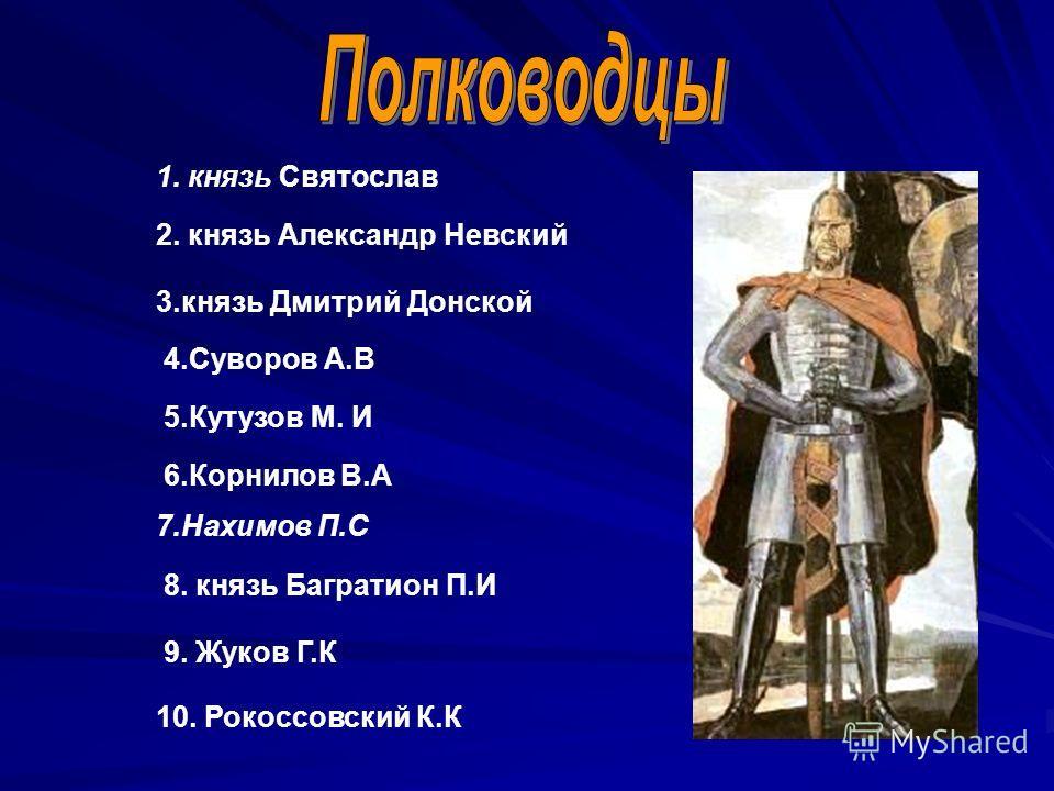 1. князь Святослав 2. князь Александр Невский 3.князь Дмитрий Донской 4.Суворов А.В 5.Кутузов М. И 6.Корнилов В.А 7.Нахимов П.С 8. князь Багратион П.И 9. Жуков Г.К 10. Рокоссовский К.К