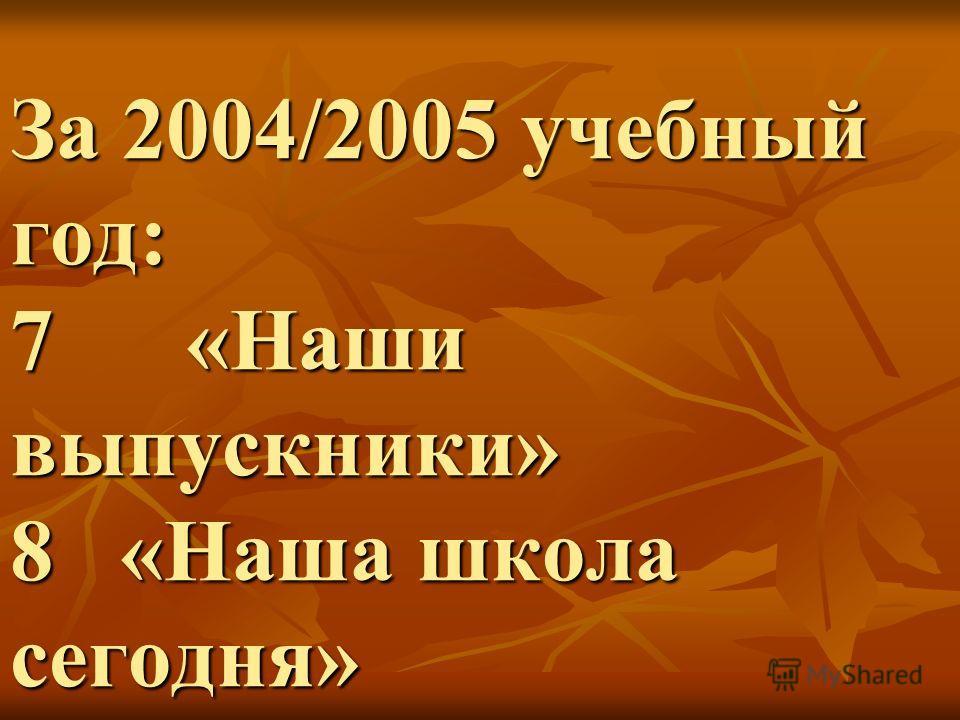 За 2004/2005 учебный год: 7 «Наши выпускники» 8 «Наша школа сегодня»