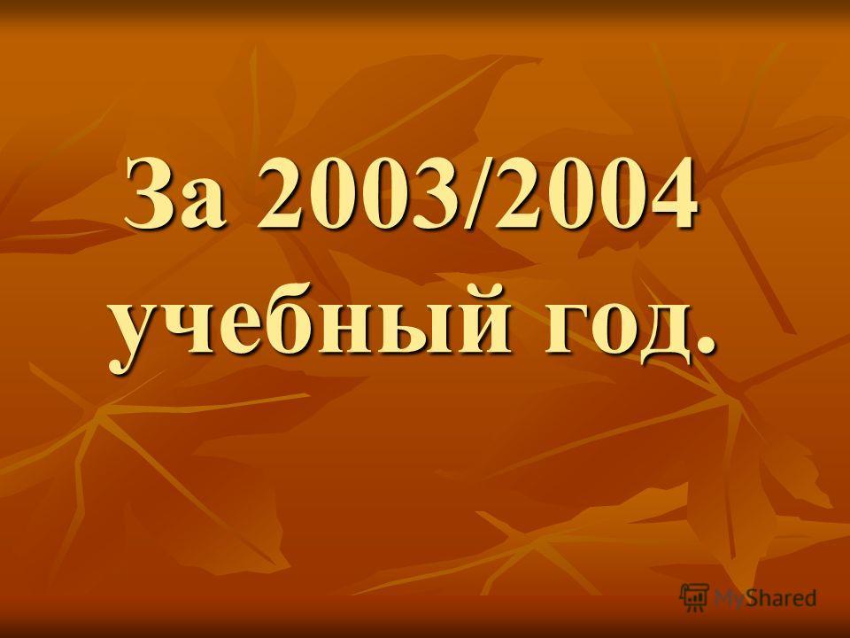 За 2003/2004 учебный год.