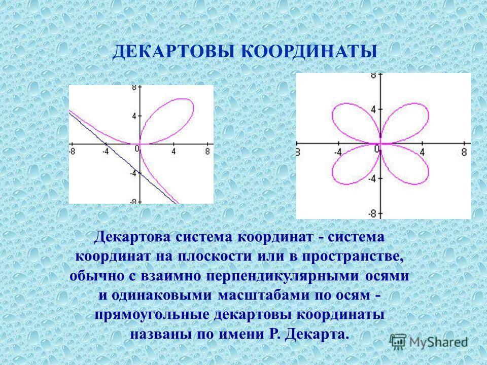 Декартова система координат - система координат на плоскости или в пространстве, обычно с взаимно перпендикулярными осями и одинаковыми масштабами по осям - прямоугольные декартовы координаты названы по имени Р. Декарта. ДЕКАРТОВЫ КООРДИНАТЫ