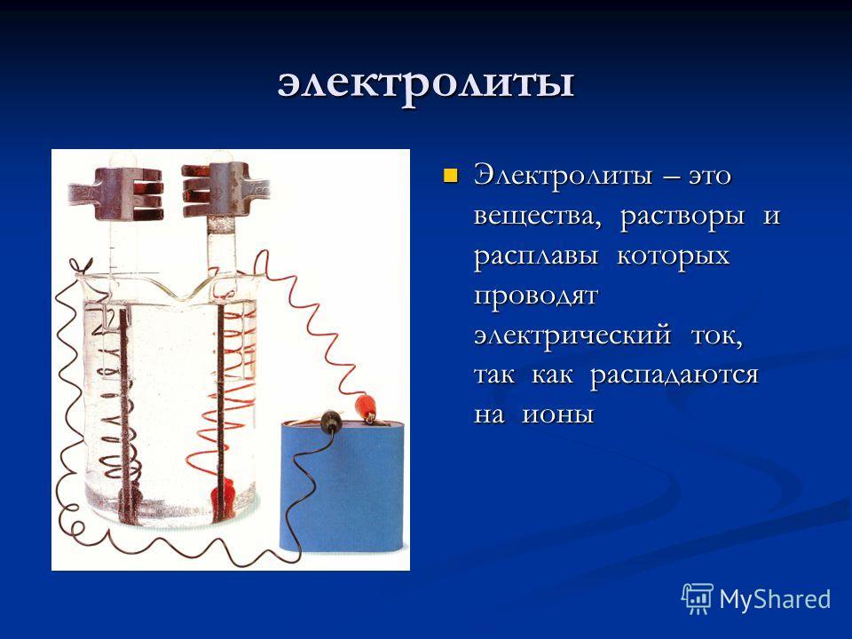 электролиты Электролиты – это вещества, растворы и расплавы которых проводят электрический ток, так как распадаются на ионы