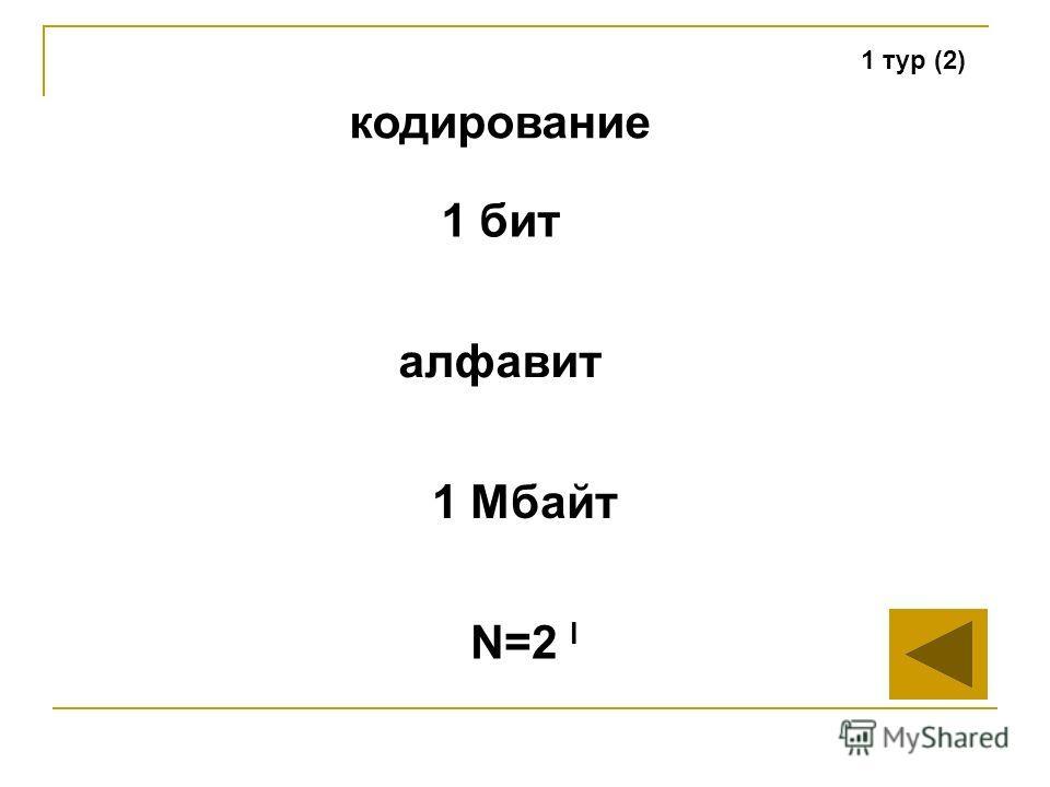 1 тур (2) кодирование алфавит 1 Мбайт N=2 I 1 бит