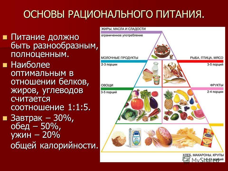 ОСНОВЫ РАЦИОНАЛЬНОГО ПИТАНИЯ. Питание должно быть разнообразным, полноценным. Питание должно быть разнообразным, полноценным. Наиболее оптимальным в отношении белков, жиров, углеводов считается соотношение 1:1:5. Наиболее оптимальным в отношении белк