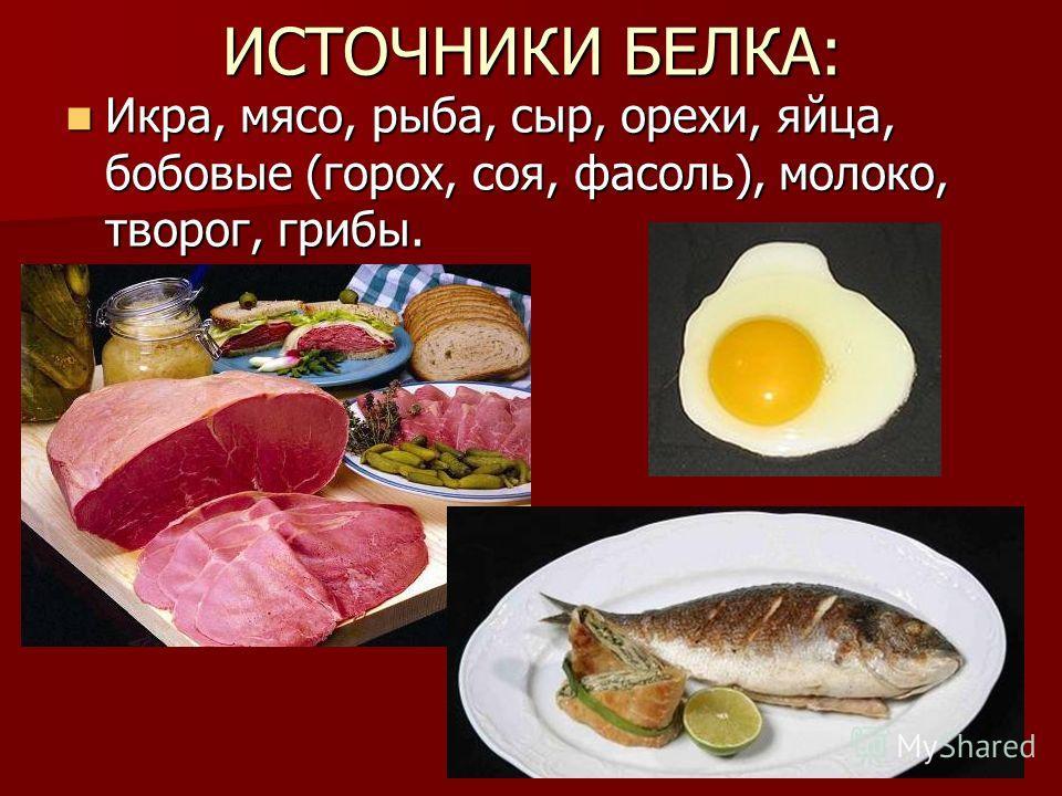 ИСТОЧНИКИ БЕЛКА: Икра, мясо, рыба, сыр, орехи, яйца, бобовые (горох, соя, фасоль), молоко, творог, грибы. Икра, мясо, рыба, сыр, орехи, яйца, бобовые (горох, соя, фасоль), молоко, творог, грибы.
