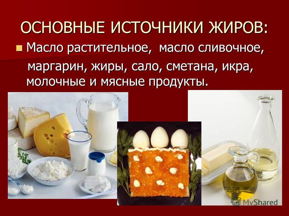 ОСНОВНЫЕ ИСТОЧНИКИ ЖИРОВ: Масло растительное, масло сливочное, Масло растительное, масло сливочное, маргарин, жиры, сало, сметана, икра, молочные и мясные продукты. маргарин, жиры, сало, сметана, икра, молочные и мясные продукты.