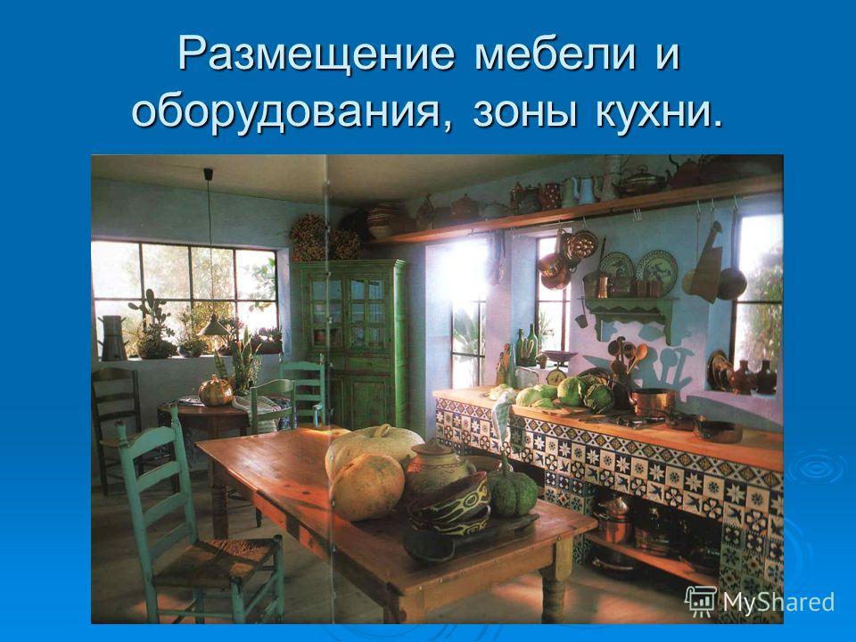 Размещение мебели и оборудования, зоны кухни.