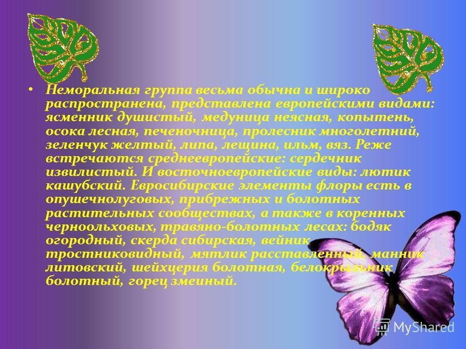 Неморальная группа весьма обычна и широко распространена, представлена европейскими видами: ясменник душистый, медуница неясная, копытень, осока лесная, печеночница, пролесник многолетний, зеленчук желтый, липа, лещина, ильм, вяз. Реже встречаются ср