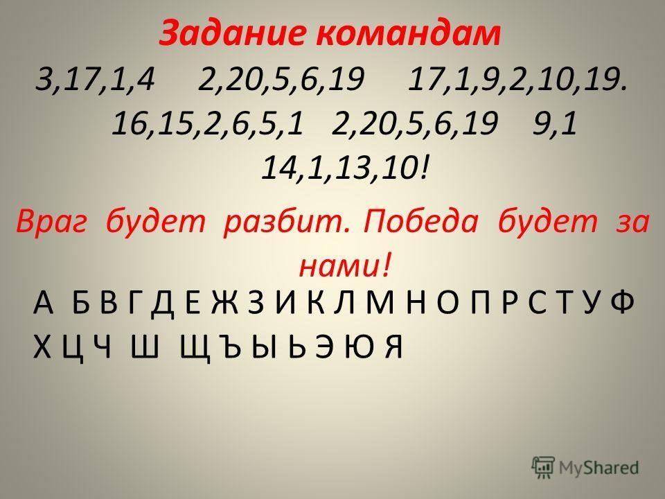 Задание командам 3,17,1,4 2,20,5,6,19 17,1,9,2,10,19. 16,15,2,6,5,1 2,20,5,6,19 9,1 14,1,13,10! Враг будет разбит. Победа будет за нами! А Б В Г Д Е Ж З И К Л М Н О П Р С Т У Ф Х Ц Ч Ш Щ Ъ Ы Ь Э Ю Я