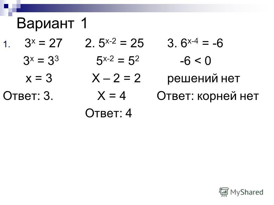 Вариант 1 1. 3 x = 272. 5 x-2 = 253. 6 x-4 = -6 3 x = 3 3 5 x-2 = 5 2 -6 < 0 x = 3 X – 2 = 2 решений нет Ответ: 3. X = 4 Ответ: корней нет Ответ: 4
