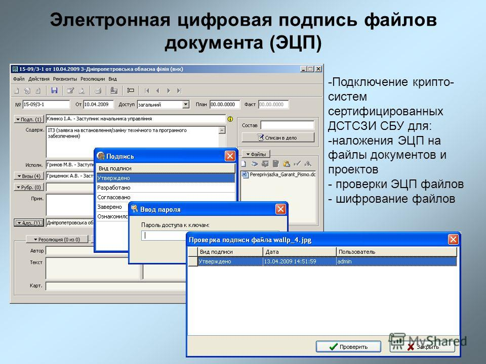 Электронная цифровая подпись файлов документа (ЭЦП) -Подключение крипто- систем сертифицированных ДСТСЗИ СБУ для: -наложения ЭЦП на файлы документов и проектов - проверки ЭЦП файлов - шифрование файлов
