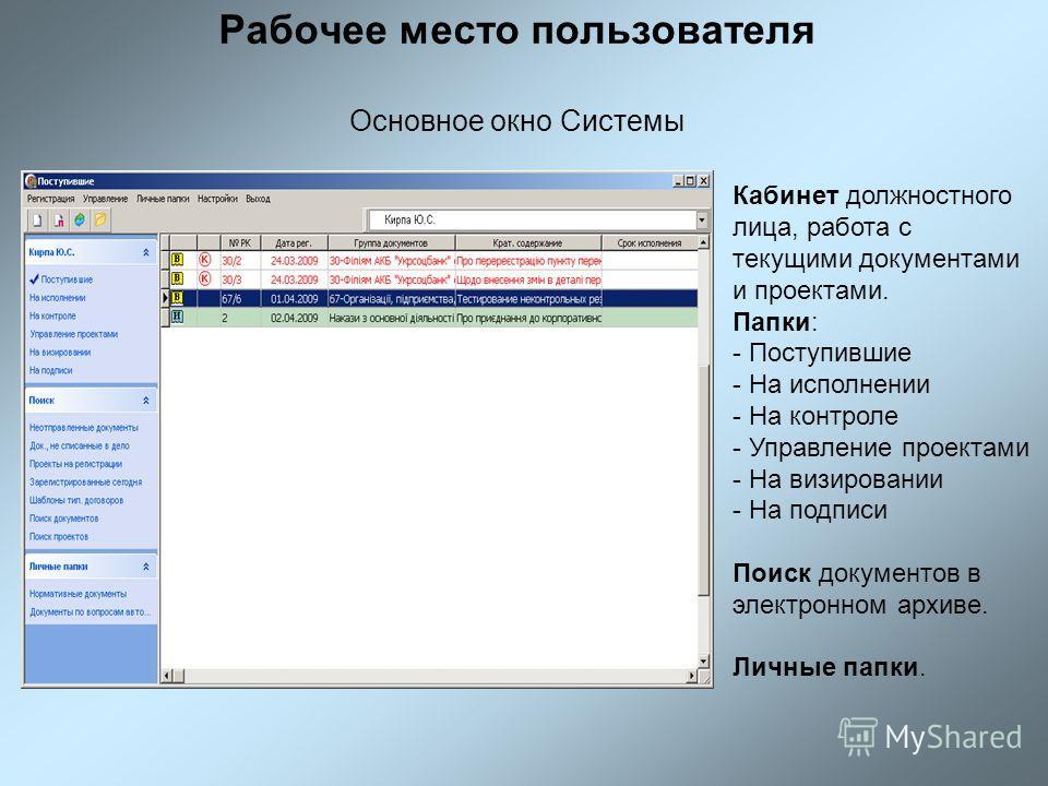 Рабочее место пользователя Основное окно Системы Кабинет должностного лица, работа с текущими документами и проектами. Папки: - Поступившие - На исполнении - На контроле - Управление проектами - На визировании - На подписи Поиск документов в электрон