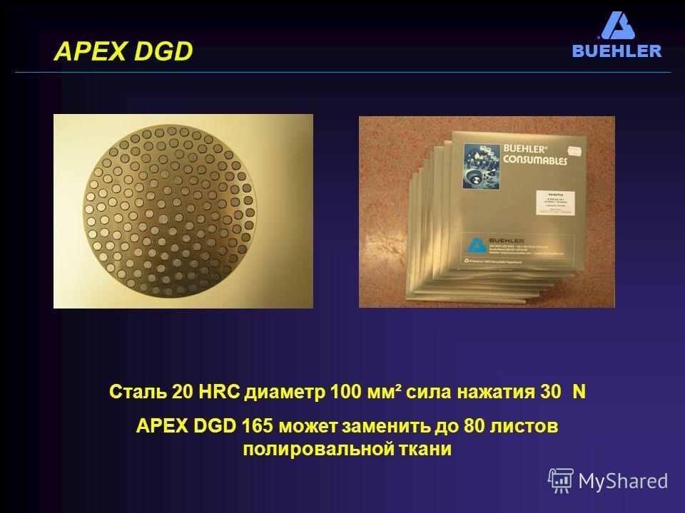 BUEHLER APEX DGD Сталь 20 НRC диаметр 100 мм² сила нажатия 30 N APEX DGD 165 может заменить до 80 листов полировальной ткани