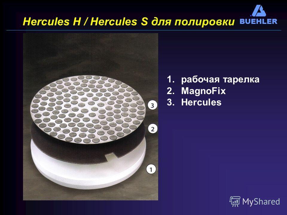 BUEHLER Hercules H / Hercules S для полировки 1.рабочая тарелка 2.MagnoFix 3.Hercules