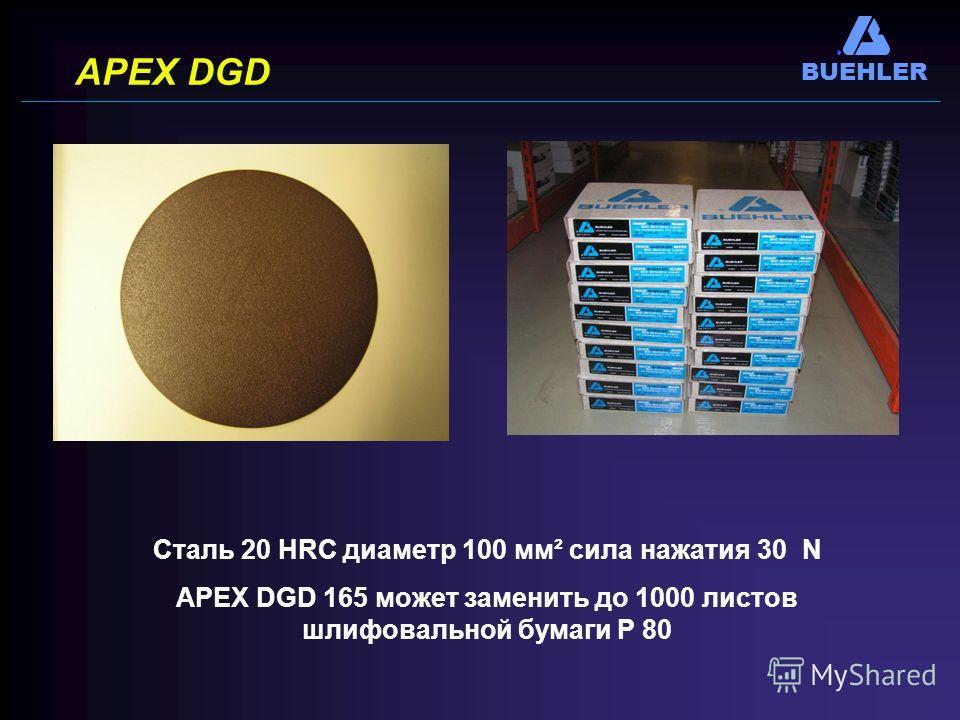 BUEHLER APEX DGD Сталь 20 НRC диаметр 100 мм² сила нажатия 30 N APEX DGD 165 может заменить до 1000 листов шлифовальной бумаги Р 80