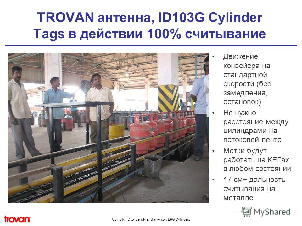 Using RFID to Identify and Inventory LPG Cylinders TROVAN антенна, ID103G Cylinder Tags в действии 100% считывание Движение конвейера на стандартной скорости (без замедления, остановок) Не нужно расстояние между цилиндрами на потоковой ленте Метки бу