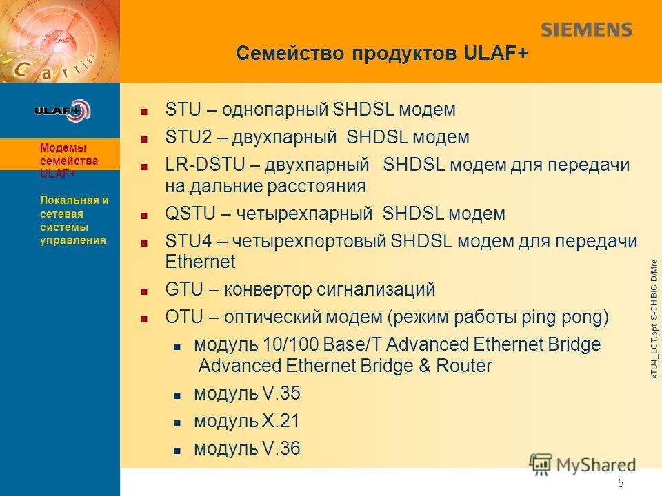 9,825,461,087,64 10,91 6,00 0,00 8,00 xTU4_LCT.ppt S-CH BIC D/Mre 5 Семейство продуктов ULAF+ STU – однопарный SHDSL модем STU2 – двухпарный SHDSL модем LR-DSTU – двухпарный SHDSL модем для передачи на дальние расстояния QSTU – четырехпарный SHDSL мо