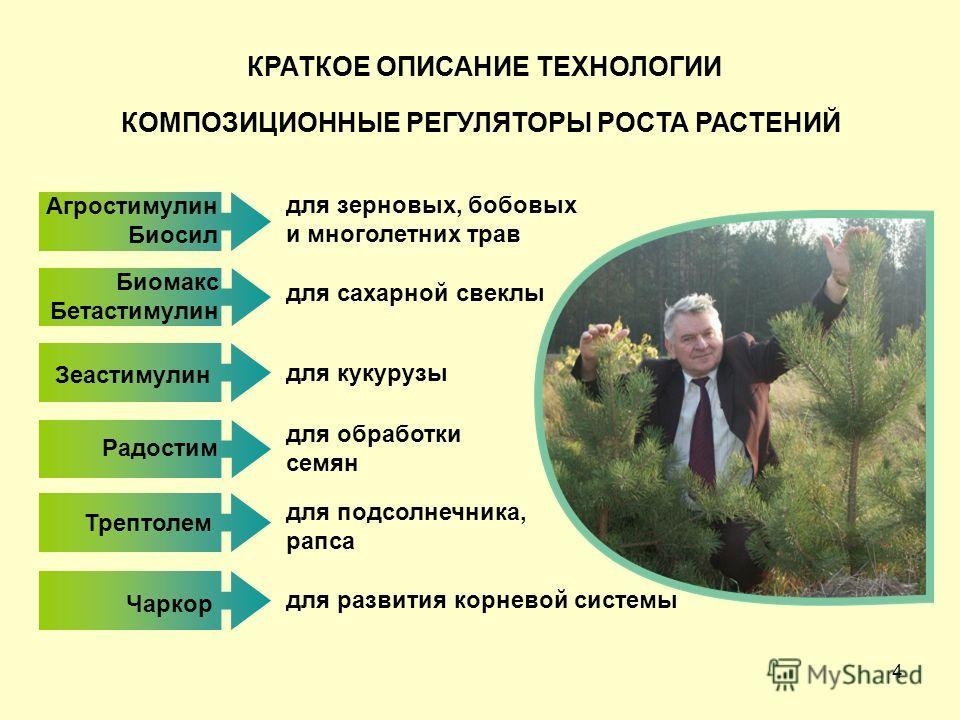 4 КОМПОЗИЦИОННЫЕ РЕГУЛЯТОРЫ РОСТА РАСТЕНИЙ Агростимулин Биосил для сахарной свеклы для кукурузы для подсолнечника, рапса Радостим для обработки семян для развития корневой системы КРАТКОЕ ОПИСАНИЕ ТЕХНОЛОГИИ Биомакс Бетастимулин Зеастимулин Трептолем