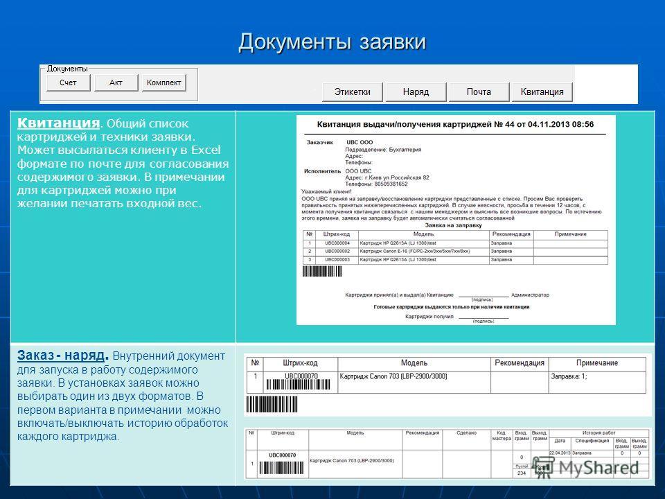 UBC Документы заявки Квитанция. Общий список картриджей и техники заявки. Может высылаться клиенту в Excel формате по почте для согласования содержимого заявки. В примечании для картриджей можно при желании печатать входной вес. Заказ - наряд. Внутре